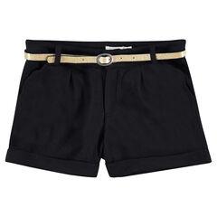 Junior - Short met visgraatmotief en afneembare riem met pailletjes