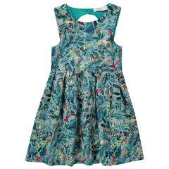 Mouwloze jurk met tropische allover print en strikje