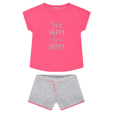 """Junior - Pyjama van jerseystof met print met boodschap en short met stippen """"all-over"""""""
