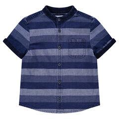 Hemd met korte mouwen, jeanseffect en contrasterende stroken