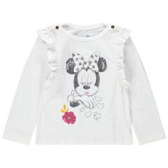 T-shirt met lange mouwen met volants en print van Minnie Disney