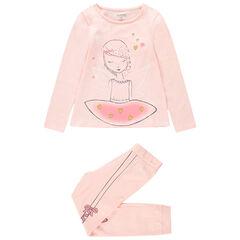 Pyjama en jersey rose avec danseuse printée