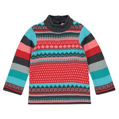 Pull manches longues en tricot imprimé jacquard fantaisie