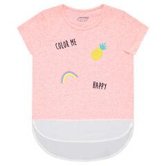 Tee-shirt manches courtes en jersey et crêpe avec motif fantaisie