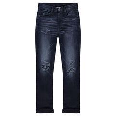 Junior - jeans met used en crinkle effect en met fantasiescheuren