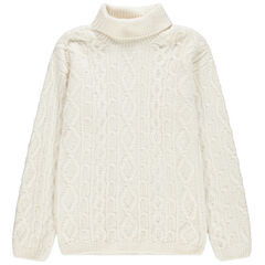 Junior - Pull en tricot torsadé col roulé