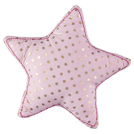 """Kussen in stervorm met gouden stippen """"all-over"""""""