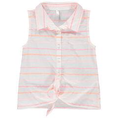 Tunique style chemise à rayures jacquard et liens à nouer