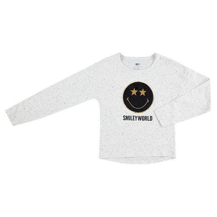 Junior - Tee-shirt manches longues en jersey neps avec patch ©Smiley en sherpa