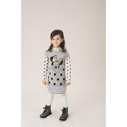 Tricotjurk met korte mouwen en print van Minnie Disney met gouden strik