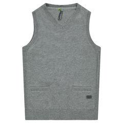 Pull en tricot sans manches avec poches