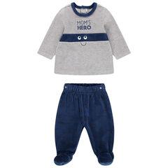 Pyjama en velours avec pantalon à pieds fermés