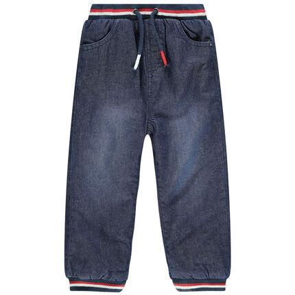 Jeans met used-effect en gestreepte elastische taille