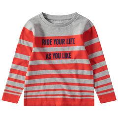 T-shirt met lange, gestreepte mouwen en met print met boodschap