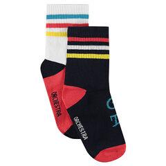 Set van 2 paar bijpassende sokken met ribrand met contrasterende strepen