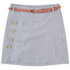 Junior - Korte rok van gemêleerde decoratief breiwerk met afneembare, gevlochten riem