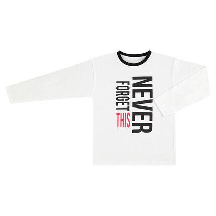 Junior - Wit T-shirt met lange mouwen en print met tekst