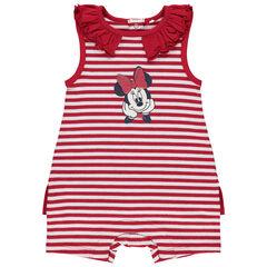 Korte jumpsuit met strepen en Minnie-print met pailletjes