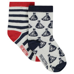 Lot de 2 paires de chaussettes assorties rayées / à motif all-over