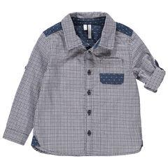 Hemd met lange mouwen met ruitjes en inzetstukken met jacquardmotief