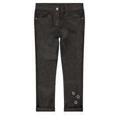 Slim-fit broek van twill met coating met pailletten