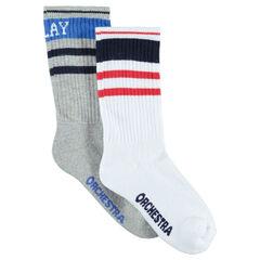 Set met 2 paar matching hoge sokken in vintagestijl