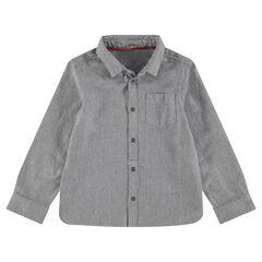 Hemd met lange mouwen uit katoenpiqué met zakje