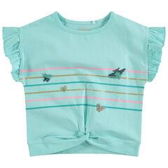 T-shirt met korte mouwen met volants, strepen en vlinders van lovertjes