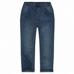 Jeans coupe droite effet délavé à taille élastiquée