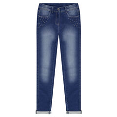 Junior - Jeans van molton met used effect en fantasiestuds
