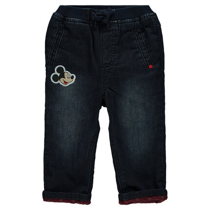 Jeans effet used doublé jersey Disney avec badge Mickey