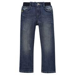 Jeans coupe droite effet used à taille élastiquée