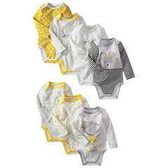 Set met 7 body's met lange mouwen met print/effen met muizenprint