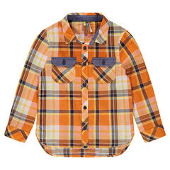 Chemise manches longues à carreaux contrastés