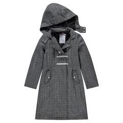 Junior - Manteau long à chevrons avec capuche amovible