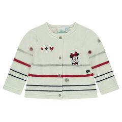 Gilet en tricot doublé jersey Disney avec Minnie brodée
