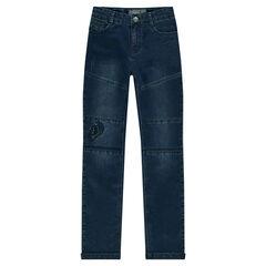 Junior - Slim fit jeans met cut-outs en decoratieve scheuren