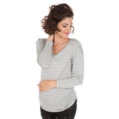 Gestreept T-shirt met lange mouwen van jacquard