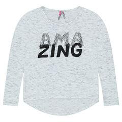 Junior - T-shirt in jerseystof met slub effect en print met boodschap