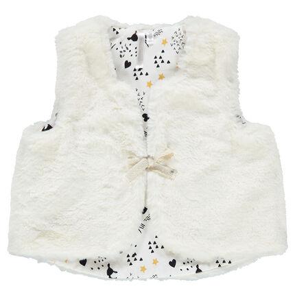 """Vest zonder mouwen van sherpa met voering van jerseystof met print """"all-over"""""""