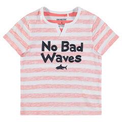T-shirt met korte mouwen van jerseystof met geborduurde boodschap
