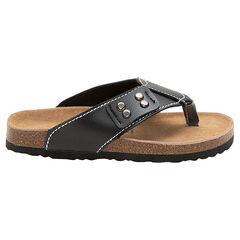 Sandalen met riempje, ledereffect en gevormde zool met kurkeffect