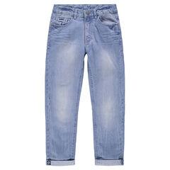 Junior - Jeans effet used et crinkle avec poches
