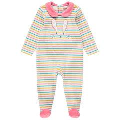 Pyjama van gestreept velours met rond kraagje en konijn met reliëf