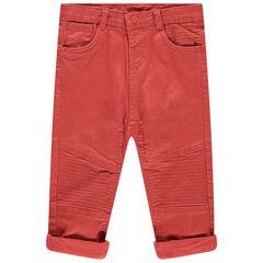 Oranje geverfde jeans met sierstiksels en inzetstukken