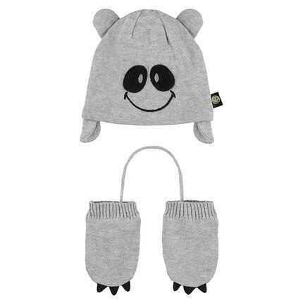 Ensemble bonnet et moufles avec détails brodés ©Smiley