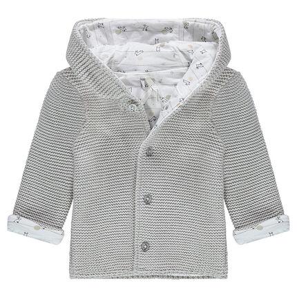 """Vest met cap van tricot gevoerd met jerseystof en print """"all-over"""""""