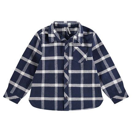 Junior - Geruit flanellen hemd met lange mouwen en zak