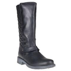 Laarzen in leder in zwarte kleur met ritssluiting gematelasseerde op de achterkant