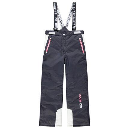 Junior - Pantalon de ski imperméable à bretelles et poches zippées